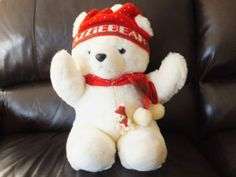 It has my name written right on it!  VINTAGE PLUSH LAZZIE HOLIDAY BEAR TOY 1987 LAZARUS CINCINNATI OHIO HAT & SCARF