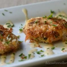 Crab Cakes with Cajun Cream Sauce are so easy from BiscuitsandBurlap.com