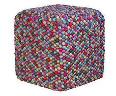 Pouf quadrato in cotone Colors - 40x30x40 cm