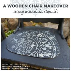 Cutting Edge Stencils shares a DIY painted and stenciled wooden chair makeover using the Prosperity Mandala Stencil. Wooden Chair Makeover, Mandala Stencils, Cutting Edge Stencils, Reclaimed Wood Wall Art, Decoupage, How To Make Diy, Diy Painting, Painted Furniture, Yoga