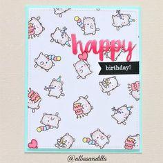 Ideas birthday karte mama for 2019 Birthday Greetings For Daughter, Birthday Quotes For Her, Birthday Wishes Cards, Mom Birthday Gift, Happy Birthday Me, Cat Birthday, Cat Cards, Kids Cards, Mama Elephant Stamps