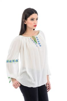 Ie brodata cu fir de bumbac, intr-o combinatie practica si de efect! Bell Sleeves, Bell Sleeve Top, Needle And Thread, Tunic Tops, Embroidery, Long Sleeve, Traditional, Beauty, Collection