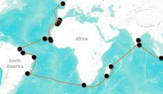 Carte des étapes de l'expédition Nomade des Mers