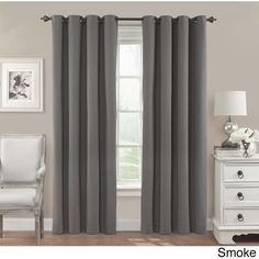 Eclipse Nadya Solid Blackout Window Curtain Panel ($36) ❤ liked on Polyvore featuring home, home decor, window treatments, curtains, grey, window curtains, grommet curtains, eclipse curtains, blackout curtain panels and gray blackout curtains
