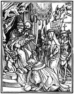 The Pope, Hans Holbein the Younger, from his Dance of Death 41 woodcuts (1523–26).
