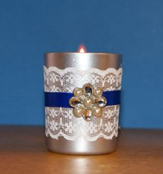 Winter Wedding / Wedding Decoration / by CarolesWeddingWhimsy, set of 6, Silver and Royal Blue with White Lace Wedding Votive Candle Holder with a Rhinestone and Pearl Brooch - You can find it here https://www.etsy.com/listing/204926618/winter-wedding-wedding-decoration-votive