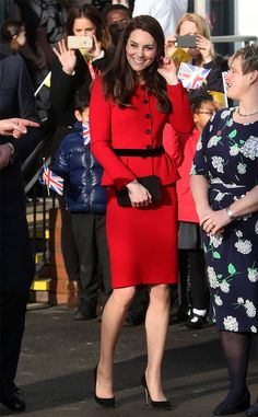 Lady in red! TheDuchess of Cambridge looking flawless in London.