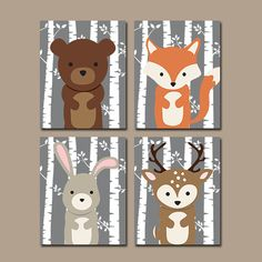 Woodland Nursery Birch Wood Forest Animals Wall Art par TRMdesign