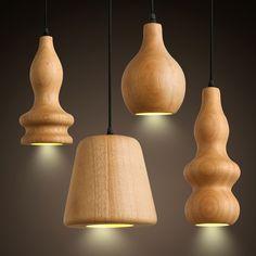 Solid Wooden Bar Cafe Restaurant modern pendant light minimalist creative wood manufacturers wholesale direct