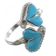Zuni Authentic Sterling Silver Turquoise Adjustable Heart Ring Size 6,7,8 RX99522