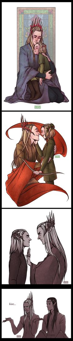 Kids these days. Your son is friends with a dwarf and my daughter wants to run off with a human. #Thranduil #Legolas #Elrond