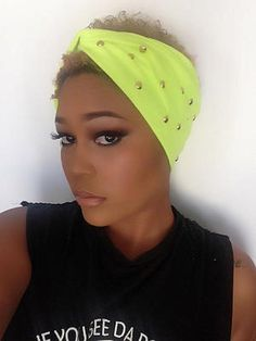 Neon Green Gold Flat Studded Turban  Workout by moviestarjewelry, $20.00