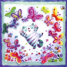 Butterflies with Cat by Artist Patricia MacCarthy