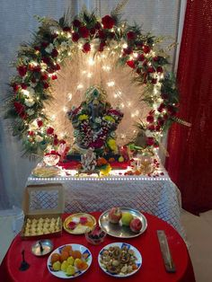 Ganesh pooja mandap decoration with flowers ganpati for Artificial flower decoration for ganpati