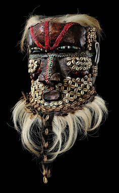 "Africa | Helmet mask ""bwoom"" from the Kuba people of DR Congo 