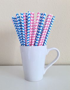 25 Paper Straws - Pink and Blue and White Chevron Party Straws and DIY Printable Drink Flags / Wedding / Birthday / Baby Shower