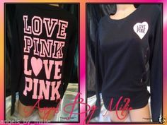 ❤️Ends TODAY!❤️NEW Victoria's Secret PINK L BLACK NEON Campus Heart SIGNATURE Crew Sweat shirt