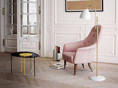 pink armchair - loft color scheme