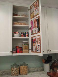 Create a Hidden Cork Board Message Center on the Inside of a Kitchen Cabinet - http://lifehacker.com/5889243/create-a-hidden-cork-board-message-center-on-the-inside-of-a-kitchen-cabinet