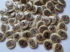 50 x 2-Hole Printed Wooden Buttons - 15mm - Round - Sugar Skulls
