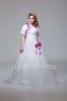 Drop Waist Wedding Dresses Strapless Chapel Train Organza Satin Multi-Colored 01001070358