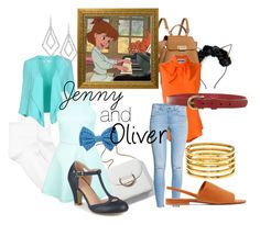 """""""Jenny and Oliver Disneybound"""" by rarimena ❤ liked on Polyvore featuring Hue, X's Milano, ZAC Zac Posen, Disney, Moschino, H&M, Journee Collection, Vince, Kenneth Jay Lane and ABS by Allen Schwartz"""
