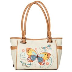 Rosetti Natural Butterfly Savannah Garden Shopper ($39) ❤ liked on Polyvore featuring bags, handbags, tote bags, natural butterfly, shopper handbags, multi colored handbags, colorful handbags, rosetti purse and rosetti handbags