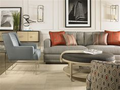 Michael Weiss designs for Vanguard, Lorenzo Ottoman. Toms-Price Home Furnishings Living Room Sets, Living Room Chairs, Living Room Furniture, Living Spaces, Discount Furniture Stores, Goods Home Furnishings, Interior Design Magazine, Beautiful Living Rooms, Upholstered Furniture