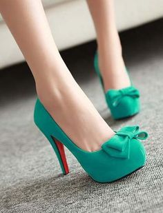 Teal bow pumps 2017