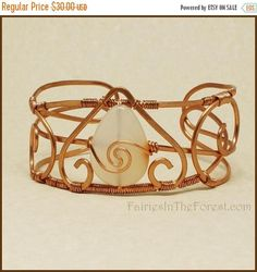 SALE 10% Off Copper and White Agate Cuff Bracelet