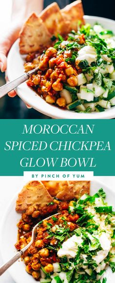 MOROCCAN SPICED CHICKPEA GLOW BOWL. 25 Clean-Eating Bowls to Make for Breakfast, Lunch and Dinner #purewow #lunch #dinner #breakfast #healthy #recipe #cooking #food #cleaneating #healthyeating #eatclean #cleaneatingbowls #healthylunches #healthydinners #glowbowls #moroccan