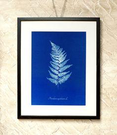 Wall Decor Blue Bracken Leaf  7x9'' by RetroPhotographyArt on Etsy