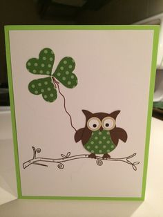 Patrick's Day with the Stampin Up owl punch - Carol Sewall st patricks day images Tarjetas Stampin Up, Owl Punch Cards, Diy Owl Cards, St Patricks Day Cards, Happy St Patricks Day, Karten Diy, St Patrick's Day Crafts, Stamping Up Cards, Kids Cards