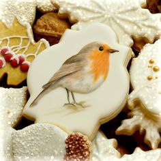 Handpainted robin By Lucy (Honeycat Cookies) http://www.honeycatcookies.blogspot.co.uk