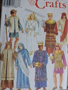 Simplicity 8152 Mens and Teen Boys Nativity Christmas Costume Sewing Pattern. Pattern 8152 is UNCUT and in factory folds. Misses and Mens Size XS, S, M , L and XL Christmas Pageant, Christmas Costumes, A Christmas Story, Halloween Costume Patterns, Nativity Costumes, Three Wise Men, Pattern Pictures, Simplicity Sewing Patterns, Teen Boys