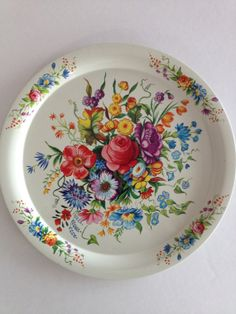Vintage Tole Floral Tin Tray / Metal Serving