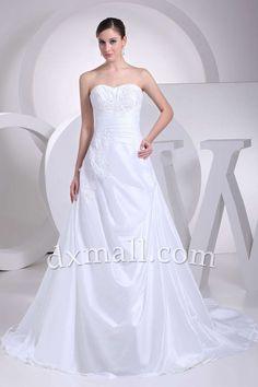 Drop Waist Wedding Dresses Strapless Sweep/Brush Train Satin White 01001070076
