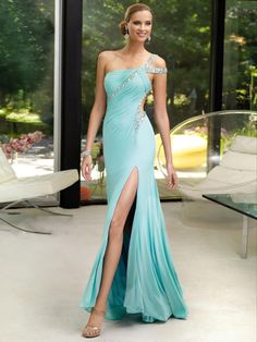 A-line Chiffon One Shoulder Natural Waist Floor-Length Backless Sleeveless Beading Cut Out Split Prom Dress
