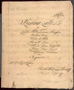 Title: 1827 Regina Coeli in D. a Canto, Alto, Tenore, Basso. Violini Duae. Viola di Alto. Clarinetti Duae. Flauti Duae. Fagott. Clarini Duae. Corni. Tympani Violone con Organo. Dell: Sig: Ryba. Ex rebus Jakob Wilhelm ČABOUN (Cžabaun) Wenzl (Václav) Trojan.