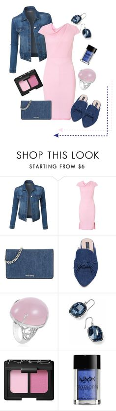"""""""denimpink"""" by pam-doel on Polyvore featuring LE3NO, Roland Mouret, Miu Miu, Eloquii, NARS Cosmetics and NYX"""