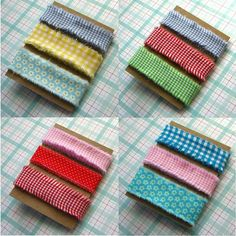 3.75 yards Hand Frayed Ribbon Cotton Fabric YOU PICK 3 Ribbons