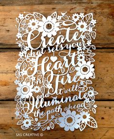 Papercut Template PDF 'Create What Sets Your Heart door SASCreative