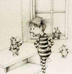 Little girl with sock gobblins and ink illustration 4/3/12. $29.00, via Etsy.