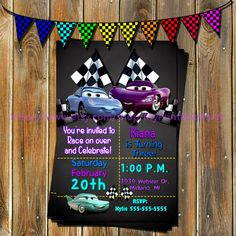 Cars Birthday Invitation-Cars Birthday by MyPrintablePartyLine