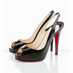 Black Christian Louboutin No Prive 120mm Leather Slingback Red So...
