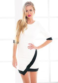 Pretty model in asymmetrical wrap style dress
