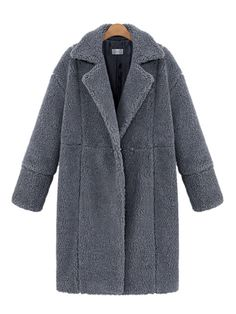 Casual Pure Color Thicken Lapel Long Sleeve Women Plush Coats