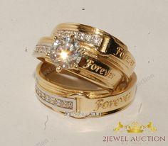 Bridal Wedding Jewelry Round Diamond Yellow Gold Over Mens Womens Engagement Wedding Trio Ring Set Matching Wedding Rings, Wedding Band Sets, Wedding Rings Vintage, Diamond Wedding Rings, Bridal Rings, Diamond Engagement Rings, Wedding Jewelry, Gold Jewelry, Sapphire Wedding
