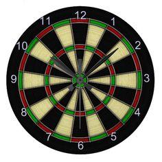 Classic Dart Board Design, Darts, Dart Games Wall Clock by Val Brackenridge