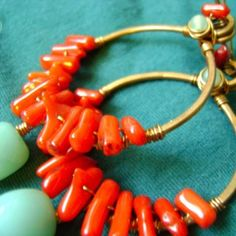 $ Tropic of Anywhere Hoop Earrings in Recycled Copper, Red Coral, Amazonite and New Jade. Jewelry by FullSpiral on Etsy